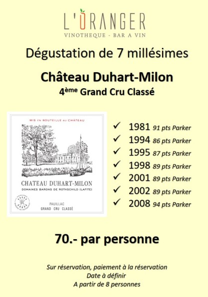 Dégustation Duhart Milon